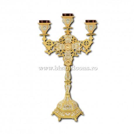 Candela masa 3 brate - ulei - aurita si argintata X47-383