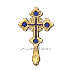 Cruce Binecuvantare - aurita - pietre albastre X69-633