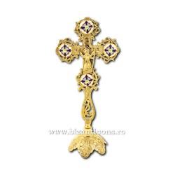 Cruce bronz - medalion email - baza fixa