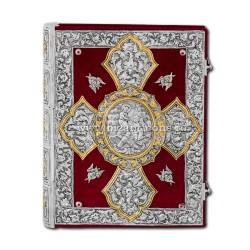 Evanghelie din argint masiv - catifea