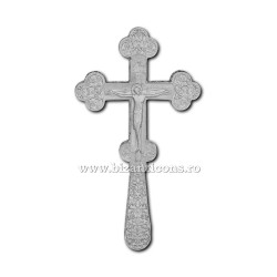 CRUCE Bin. 21cm - argintie - relief floral D101-6Ag