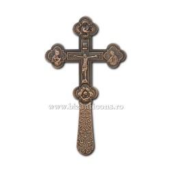 CRUCE Bin. 21,5cm - cupru - medalioane icoana D101-8Cu