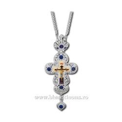 CRUCE Stavrofor Bronz argintat - email - pietre albastre D 110-57AgAb