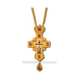 CRUCE Stavrofor Bronz aurit - email - pietre rosii D 110-60AuR