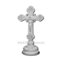 Cruce argintie med sfinti 31,5cm + baza fixa D 101-10Ag