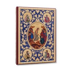 Evanghelie aurita - pietre albe - fond albastru - icoane AS102-169