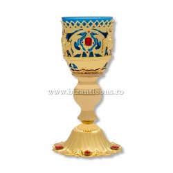 120-69Au-Ab candela masa mare - aurie - email + pietre albastre 36/bax