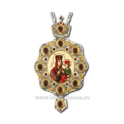 Engolpion, Bronze-gilt and silver-plated - enamel - zirconia stones AT 141-7