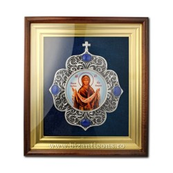 The icon in the frame is enamel painted - filigree-silver-plated - Veil AT 160-4