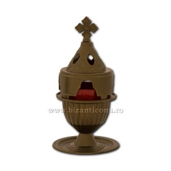 Candela antimoniu pahar metal 18cm - culoare bronz