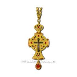 Το ΣΤΑΥΡΌ στο ΒΟΥΚΟΥΡΈΣΤΙ-μεταλλικό χρυσό με Κόκκινη πέτρα - 12cm D100-19