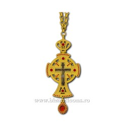 The CROSS in BUCHAREST-metal gold - Red stone - 12cm D100-19