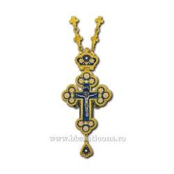CRUCE STAVROFOR Bizant mica - metal aurit - email albastru D 100-29Au-Ab