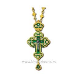 CRUCE STAVROFOR Bizant mica - metal aurit - email verde D 100-29Au-V