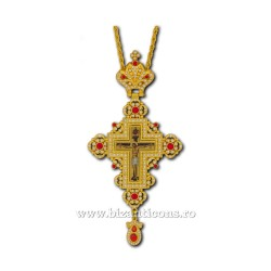 CRUCE STAVROFOR metal aurit - pietre rosii D 110-48Au-R