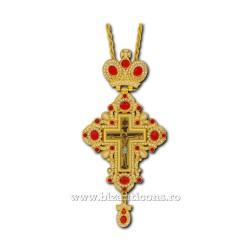 CRUCE STAVROFOR metal aurit - pietre rosii + perla D 110-49Au-R