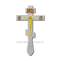 CRUCE Bin. 26cm - ruseasca - argintata si aurita - email rosu D 101-21SG