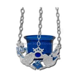 120-54AgAb лампа цепь, серебро - камень, голубой - голубь, 60/коробка