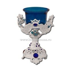 120-91Ag candela masa argintie - - piatra albastra - porumbel 13 cm 40/bax