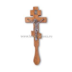 6-65 Cruce Bin. lemn sculptat - Iisus metal 70/bax