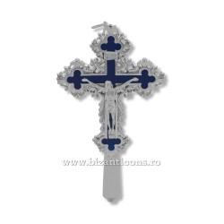 6-161Ag cruce metal argintiu - albastru - perete 20cm 60/bax