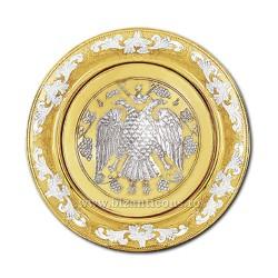 DISC gravat 25cm aurit si argintat vultur - X68-622