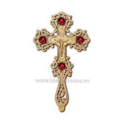 CRUCE BIN aurita pietre rosii - X70-638