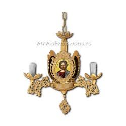 Policandru Bizantin - cu icoane - 3 becuri - aurit