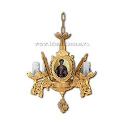 Policandru Bizantin - cu icoane - 4 becuri - aurit