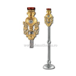 Candela imparateasca - aurita si argintata - medalion email - X106-880 / 93-634
