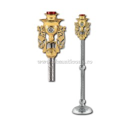 Candela imparateasca - aurita si argintata - medalion email - X106-879 / 93-636