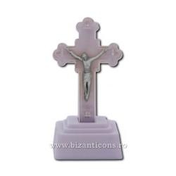Το σταυρό στο πλαστικό με το φως, μπλε - 13,5 cm.