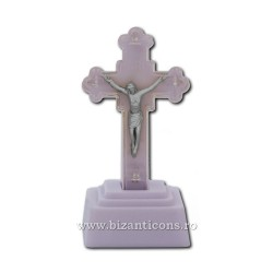 The cross in the plastic with light, blue - 13,5 cm.