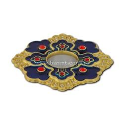 105-12AB поле Св. петра. Moaste с внутренней резьбой - золотисто - голубой эмалью - 7x1,2 см 10/комплект