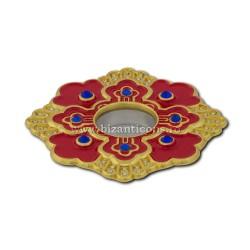 105-12R поле Св. петра. Moaste резьба - желтая - эмаль-красный - 7x1,2 см 10/комплект
