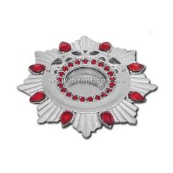 105-22AgR caseta Sf. Moaste cu filet - argintie - pietre rosii - 4,4x0,8cm 6/set