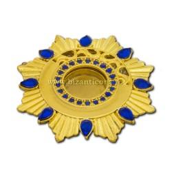 105-22AuAb caseta Sf. Moaste cu filet - aurie - pietre albastre - 4,4x0,8cm 6/set
