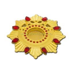 105-22AuR caseta Sf. Moaste cu filet - aurie - pietre rosii - 4,4x0,8cm 6/set