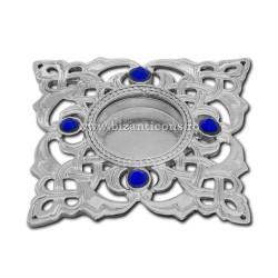 105-23AgAb caseta Sf. Moaste cu filet - argintie - pietre albastre - 4,5x0,8cm 6/set