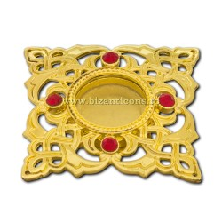 105-23AuR caseta Sf. Moaste cu filet - aurie - pietre rosii - 4,5x0,8cm 6/set