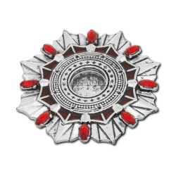 105-24AgPR caseta Sf. Moaste cu filet - argintie + patina - pietre rosii - 4,5x0,6cm 6/set