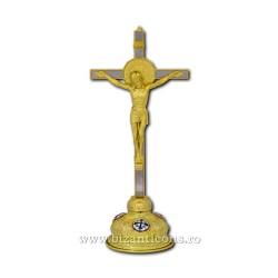 Cruce aurita si argintata 37,5cm + baza med email fixa D 101-34