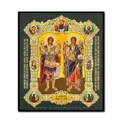 Icoana pe lemn - Sfintii Arhangheli Mihail si Gavriil 15x18 cm