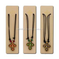 24-98 of the necklace thread + cross, wood + metal, 12/set