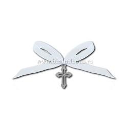 35-8 cross baptism - ribbon white 50/bag