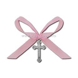 35-5R σταυρός βάπτισης - ροζ φιόγκο 50/τσάντα