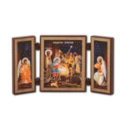 181-204 Triptic lemn 13x7,3 Nasterea Domnului 11buc/cutie