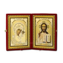 Diptic catifea - Maica Domnului si Mantuitorul din Kazan 38 cm
