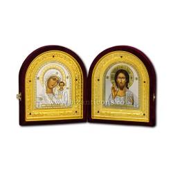 Diptic catifea - Maica Domnului si Mantuitorul din Kazan 26,5 cm