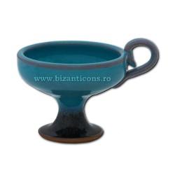 CATUIE ceramica fara capac medie - bleu 9x7cm D82-5 36/bax